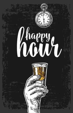 Male hand holding a tequila glass. Vintage vector engraving illustration for label, poster, menu. Isolated on dark background. Happy hour. Stock Illustratie
