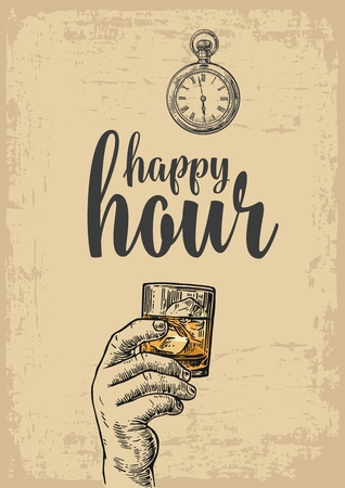 hour hand: Male hand holding a glass with whiskey and ice cubes. Vintage vector engraving illustration for label, poster, menu. beige background. Happy hour.