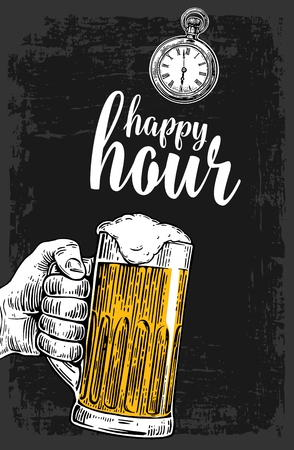Male hand holding a beer glass. Vintage vector engraving illustration for label, poster, menu. Isolated on dark background. Happy hour. Vetores