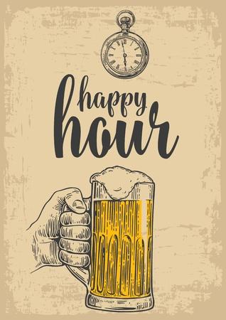 남성 손을 잡고 맥주 유리합니다. 레이블, 포스터, 메뉴에 대 한 빈티지 벡터 조각 그림. 베이지 색 배경에서 격리. 행복한 시간.