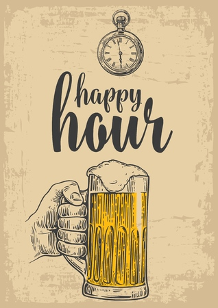 Male hand holding a beer glass. Vintage vector engraving illustration for label, poster, menu. Isolated on beige background. Happy hour. Ilustração