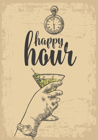 hour hand: Female hand holding a glass of cocktail. Vintage vector engraving illustration for label, poster, menu. Isolated on beige background. Happy hour.