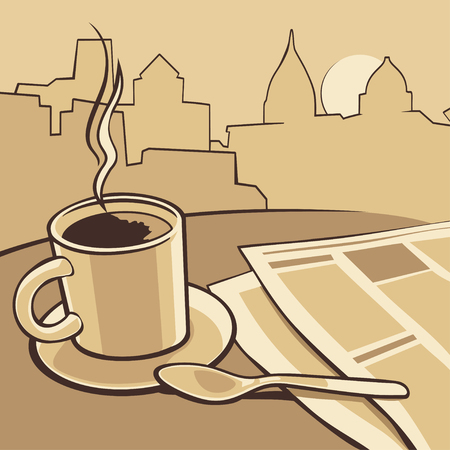 tabloid: Coffee cup and news paper on table. Vector vintage monochrome illustration. Hand drawn sketch for poster, web, banner.