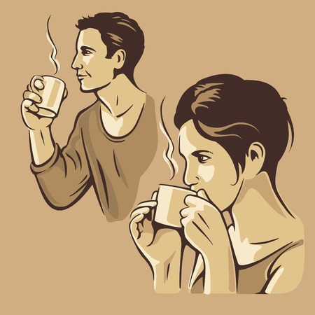 drink coffee: Man and woman drinking coffee. Vector vintage monochrome illustration. Hand drawn sketch for poster, web, banner Illustration