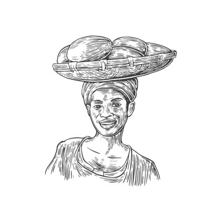 femininity: African woman carries a basket with baobab fruits on her head. Vector vintage engraved illustration isolated over white background