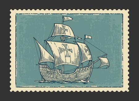 海の波に浮かぶ帆船。コロンブスとカラヴェル サンタ マリア。手描きのデザイン要素。ビンテージ ベクトル イラスト ポスター、ラベル、消印を彫