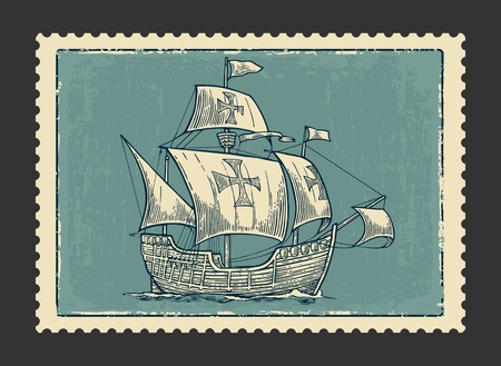 postmark: Sailing ship floating on the sea waves. Caravel Santa Maria with Columbus. Hand drawn design element. Vintage vector engraving illustration for poster, label, postmark. Isolated on white background. Illustration