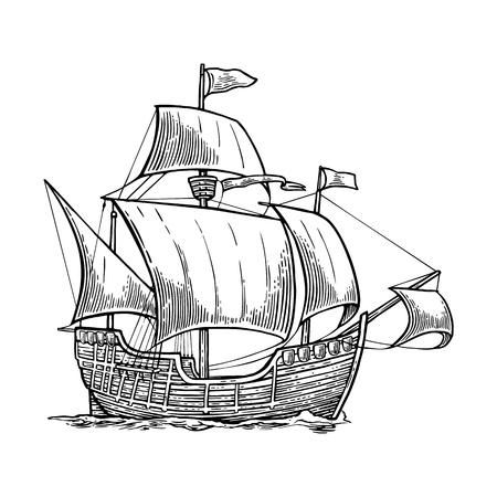 Segelschiff schwimmt auf den Wellen des Meeres. Hand gezeichnet Design-Element. Vintage-Vektor-Gravur Illustration für Plakat, Aufkleber, Stempel. Isoliert auf weißem Hintergrund.
