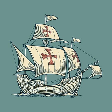 Zeilschip drijvend op de golven van de zee. Caravel Santa Maria met Columbus. Hand getrokken ontwerp element. Vintage vector graveren illustratie voor het affiche, etiket, poststempel. Geïsoleerd op een witte achtergrond.