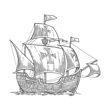 Vela nave galleggiante sulle onde del mare. Caravel Santa Maria con Columbus. Disegnata a mano elemento di design. Vintage illustrazione incisione vettore per poster, etichetta, timbro postale. Isolato su sfondo bianco Vettoriali