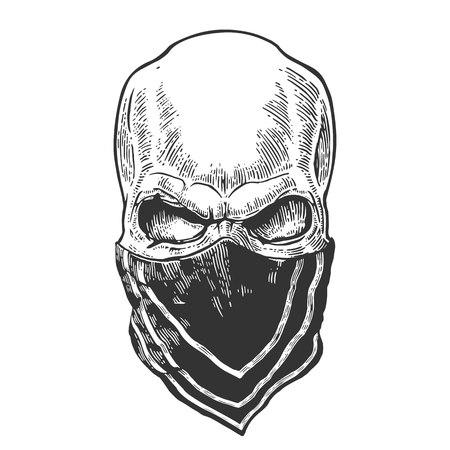 Cranio con bandana. Illustrazione vettoriale vintage nero. Per il biker club del tatuaggio e del manifesto. Elemento di disegno disegnato a mano isolato su sfondo bianco