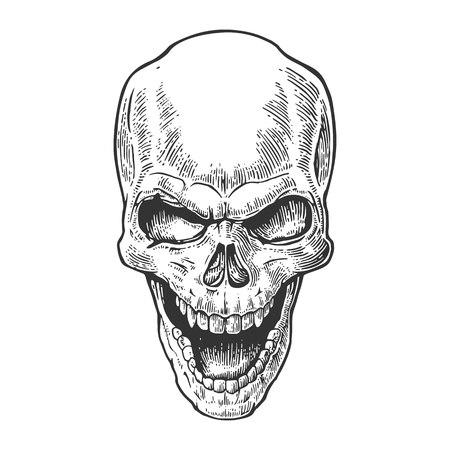 Schedel van de mens met een glimlach. Zwarte vintage vector illustratie. Voor poster en tattoo biker club. Hand getrokken design element op een witte achtergrond