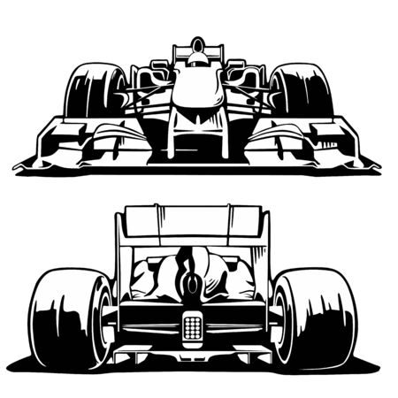 formula 1: Racing car front and back view. Vector vintage engraving set illustration handmade.   Gray background.