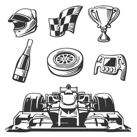 자동차 경주 아이콘을 설정합니다. 헬멧, 바퀴, 타이어, 속도계, 컵 및 플래그, 벡터 플랫 그림 흰색 배경에 고립.