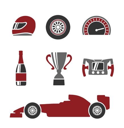 Auto race pictogrammen instellen. Helm wiel band snelheidsmeter kopje vlag, Vector vlakke afbeelding geïsoleerde witte achtergrond. Vector Illustratie