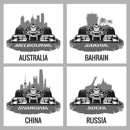 prix: Set vintage poster Grand Prix. Melbourne, Australia, Sakhir, Bahrain, Shanghai, China, Sochi, Russia.  Vector for poster, web Illustration