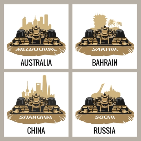 melbourne: Set vintage poster Grand Prix. Melbourne, Australia, Sakhir, Bahrain, Shanghai, China, Sochi, Russia.  Vector for poster, web Illustration