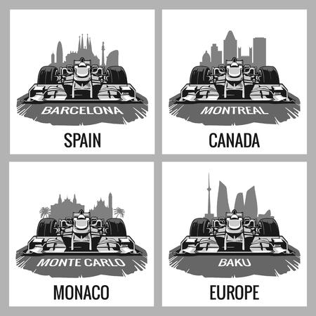 prix: Set vintage poster Grand Prix. Barcelona, Spain, Montreal, Canada, Monte Carlo, Monaco, Baku, Europe,