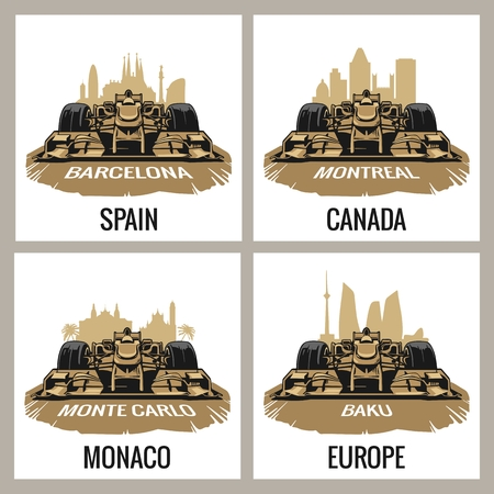 Gran Premio Set vintage poster. Barcellona, ??Spagna, Montreal, Canada, Monte Carlo, Monaco, Baku, l'Europa, Archivio Fotografico - 56546599