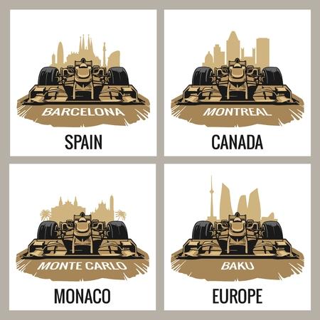 Set vintage poster Grand Prix. Barcelona, Spain, Montreal, Canada, Monte Carlo, Monaco, Baku, Europe, 免版税图像 - 56546599