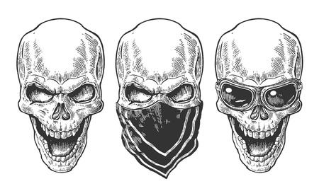 Cráneo sonriente con el pañuelo y gafas de motocicleta. ilustración vectorial negro de la vendimia. Para el cartel y el tatuaje del club motorista. dibujado a mano elemento de diseño aislado sobre fondo blanco