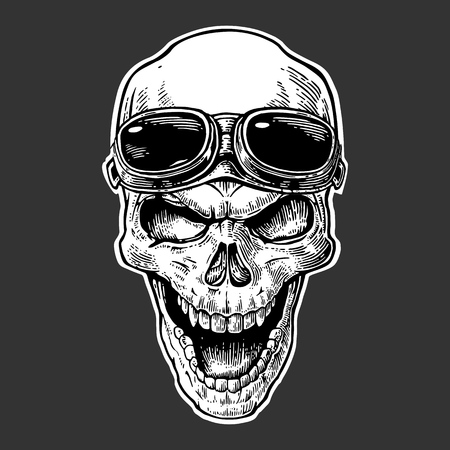 forehead: Skull smiling with glasses for motorcycle on forehead. Black vintage vector illustration. For poster and tattoo biker club. Hand drawn design element isolated on dark background Illustration