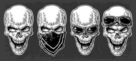 forehead: Skull smiling with bandana and glasses for motorcycle on forehead and eyes. Black vintage vector illustration. For poster and tattoo biker club. Hand drawn design element isolated on dark background