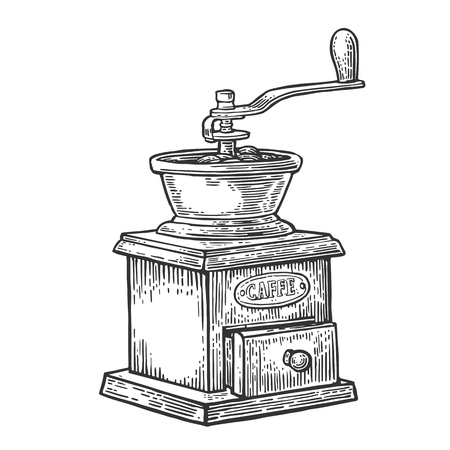Coffee mill. Hand drawn sketch style. Vintage black vector engraving illustration for label, web.  Isolated on white background.