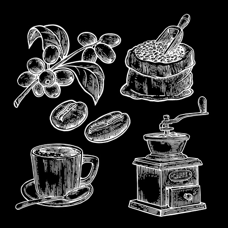 Sack with coffee beans with wooden scoop and beans, cup, branch with leaf and berry. Hand drawn sketch style. Vintage vector engraving illustration for label, web.  Isolated on black background. Ilustração