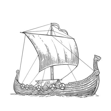 drakkar: Drakkar floating on the sea waves.  Hand drawn design element sailing ship. Vintage vector engraving illustration for poster, label, postmark. Isolated on white background