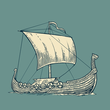 postmark: Drakkar floating on the sea waves.  Hand drawn design element sailing ship. Vintage vector engraving illustration for poster, label, postmark. Isolated on blue background