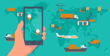 top of the world: Phone with interface mobile app for cargo service on a screen. Logistic concept flat banner production process from factory to the shop. Top view world map with warehouse, ship, truck, aircraft, car