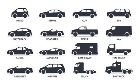 Auto modello e del tipo oggetti Icone insieme, automobile. Vector nero illustrazione isolato su sfondo bianco con ombra. Varianti di silhouette del corpo macchina per il web. Vettoriali