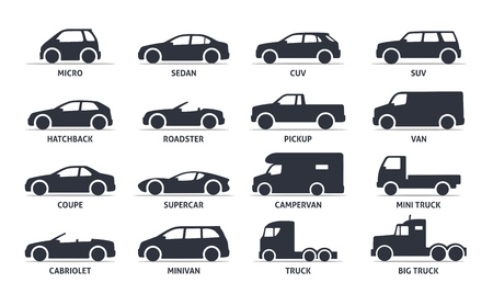 minivan: Car Type and Model Objects icons Set, automobile. Vector black illustration isolated on white background with shadow. Variants of car body silhouette for web.