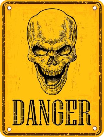 vector skull danger sign: Skull on sign danger. Black vintage vector illustration. For poster and tattoo biker club. Hand drawn design element isolated on yellow background