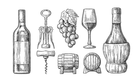 Wine set. Bottle, glass, corkscrew, barrel, bunch of grapes. Black vintage engraved vector illustration isolated on white background. For label poster, web. Vettoriali