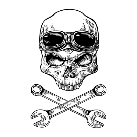 forehead: Skull smiling with glasses for motorcycle on forehead and bones. Black vintage vector illustration. For poster and tattoo biker club. Hand drawn design element isolated on white background Illustration