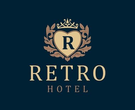 Retro Hotel. Schreiben Emblem R in Herz mit Krone. Vector Logo für das Hotel, das Hotelgeschäft. Monogramm. Outline-logo