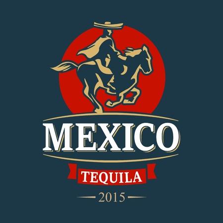騎手メキシコのポンチョとソンブレロ乗り物で夕暮れ時。ビンテージ ベクトルの図は、ラベル、web デザイン、パンフレット、ポスター、t シャツに  イラスト・ベクター素材