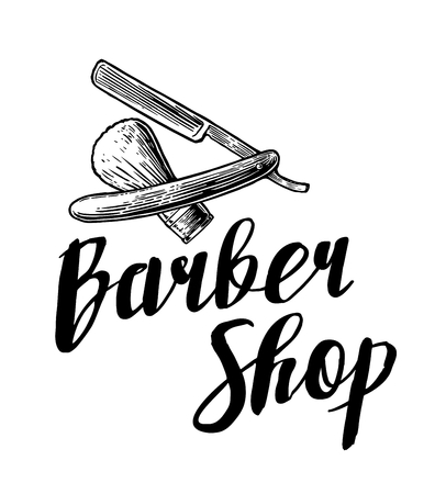barbershop: BarberShop. Vector black and white illustrations and typography elements. Hand drawn vintage engraving for poster