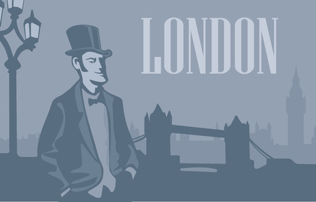 london tower bridge: London gentleman in hat on the London Street. London skyline with Big Ben and Tower Bridge