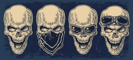 Skull smiling with bandana and glasses for motorcycle on forehead and eyes. Black vintage vector illustration. For poster and tattoo biker club. Hand drawn design element isolated on dark blue background Illustration