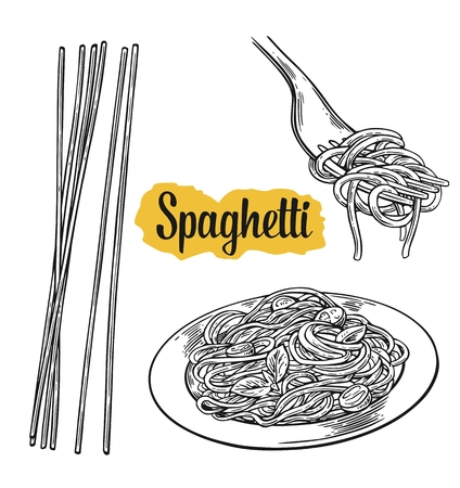 Spaghetti on fork and plate. Vector vintage black illustration isolated on white background.