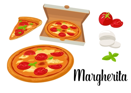 margherita: Whole pizza and slices of pizza Margherita in open box. Isolated vector flat illustration white background. Illustration