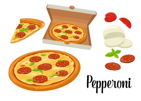 pepperoni: Whole pizza and slices of pizza pepperoni in open white box. Isolated vector flat illustration on white background. For poster, menus, brochure, web, delivery business, food box and icon. Illustration