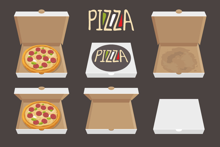 pasteboard: The whole pizza in the opened and closed cardboard box. Delivery. Set isolated vector Flat style illustration.