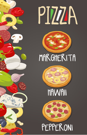 pepperoni: Whole Pepperoni, Hawaiian, Margherita pizza and the ingredients for the pizza. Isolated vector illustration. For menus, icons web design infographic.