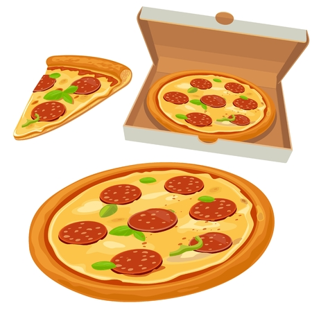 Whole pizza and slices of pizza pepperoni in open white box.Isolated vector flat illustration for poster, menus, logotype, brochure, web and icon.