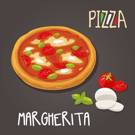 margherita: Margherita Pizza with ingredients . Set Isolated vector Flat style illustration Illustration