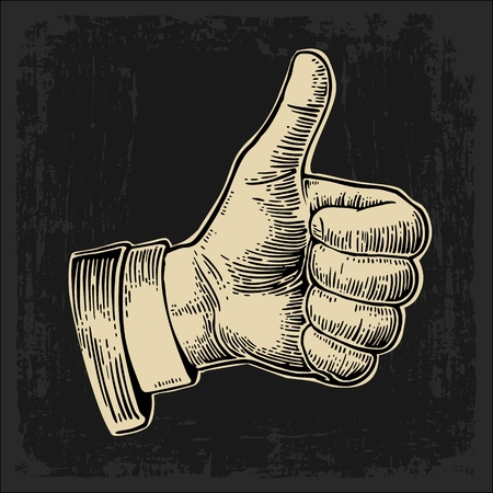 dark beige: Hand showing symbol Like. Making thumb up gesture. Hand drawn design element. Vector beige vintage engraved illustration isolated on a dark background. Sign for web, poster, info graphic